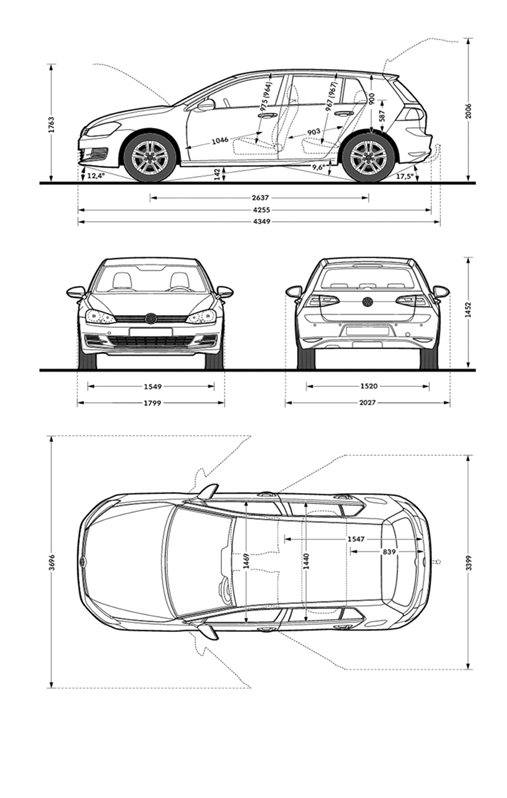 dimensions of vw golf