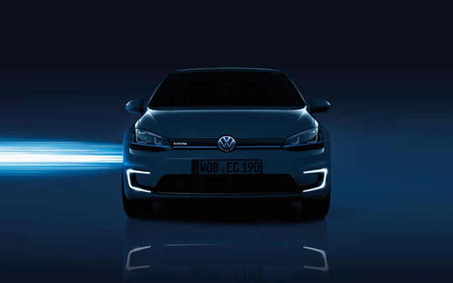 White Volkswagen e-Golf exterior view front