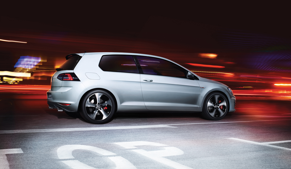 Grey Volkswagen Golf GTI VII large exterior view right side large