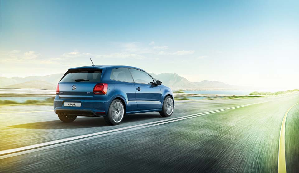 Blue Volkswagen Polo GP exterior view rear large