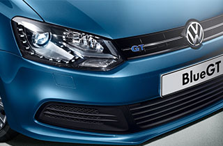 Blue Volkswagen Polo GP exterior view front right headlamp large