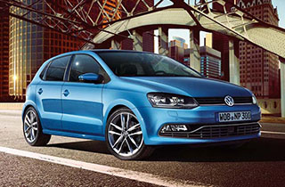 Blue Volkswagen Polo GP exterior view front right large