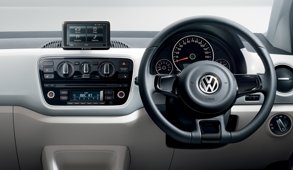 Volkswagen Up NF interior view steering wheel dashboard large