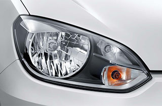 White Volkswagen Up NF exterior view right headlamp