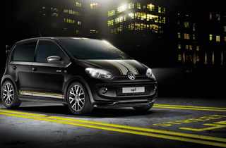 Black Volkswagen Up NF exterior view front right side