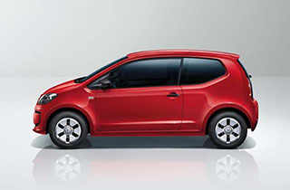 Red Volkswagen Up NF exterior view right side large