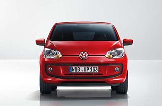 Red Volkswagen Up NF exterior view front side
