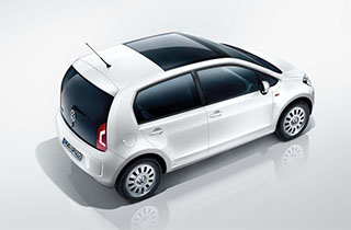 White Volkswagen Up NF exterior view above right