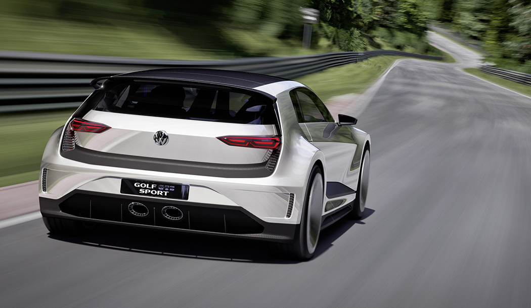 The Golf GTE Sport drives away on the track