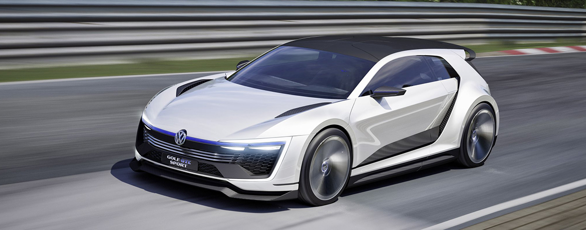 The Volkswagen Golf GTE Sport on the track