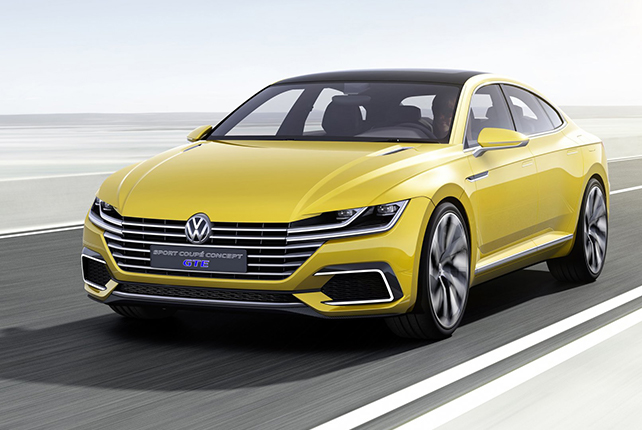 The Volkswagen Sport coupé concept on the road