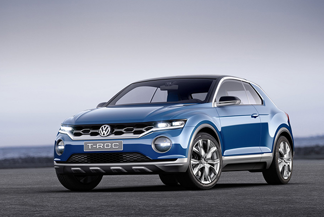 The volkswagen T-Roc outside