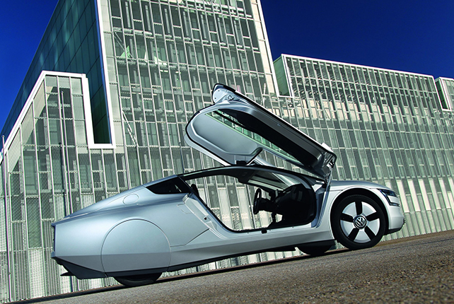 The Volkswagen XL1 with the doors open