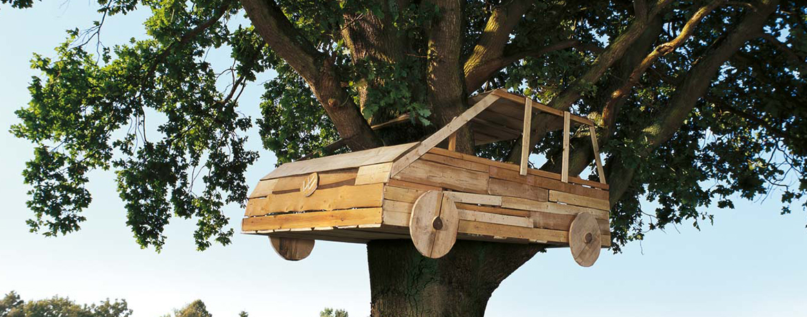 a Wooden car in a tree