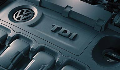 A close up of a Volkswagen TDI engine