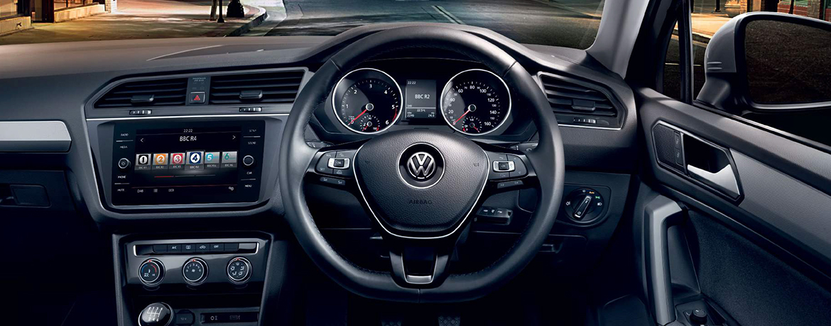 A Tiguan dashboard from the car driver's seat.