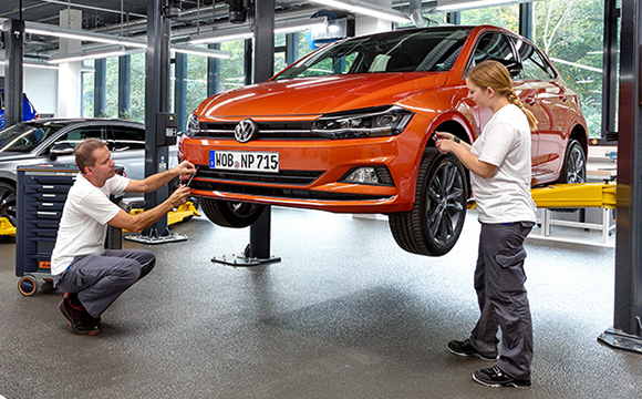 Volkswagen Golf being serviced.