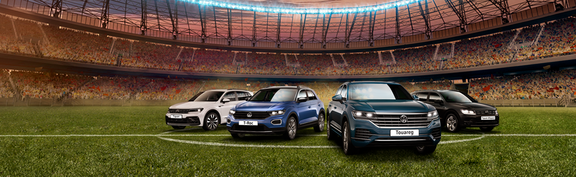 SUV Hub promo banner, SUVs on a football pitch