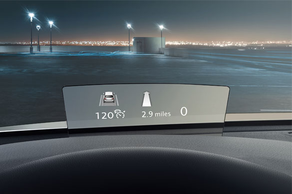 The head-up display shown on the Passat Estate's dashboard