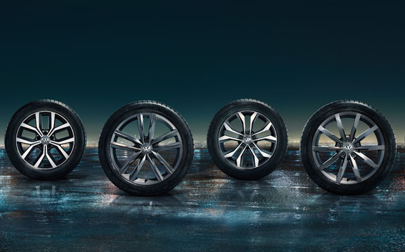 Passat Estate wheels standing up in a row
