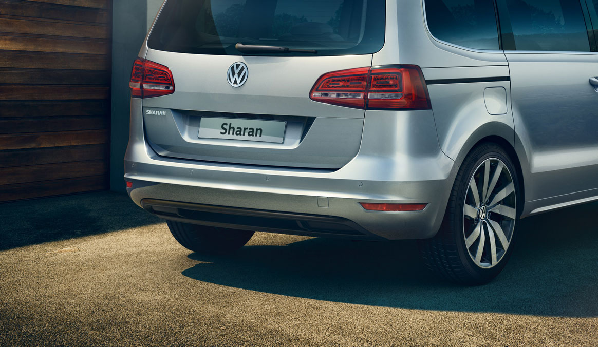 Rear of the Sharan showing the back of the car's exterior design