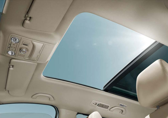 The panoramic sunroof shot from the front passenger floor position