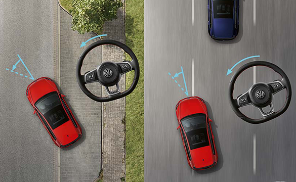 A graphic of the Golf GTI with steering arcs and steering wheels indicating more direct steering control