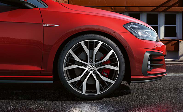 The front wheel of the Golf GTI