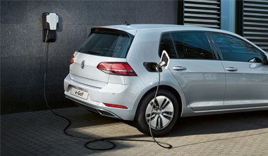 e-Golf parked up and on charge