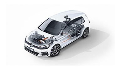 Transparent image of e-Golf showing the car's powertrain