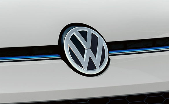 Close up of the Volkswagen badge on an e-up!