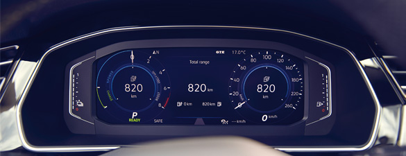 The dashboard of a Passat GTE showing the electric range of the car