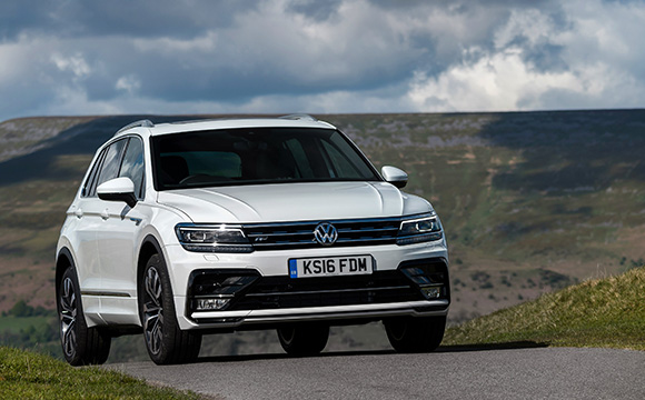 White Tiguan on the road