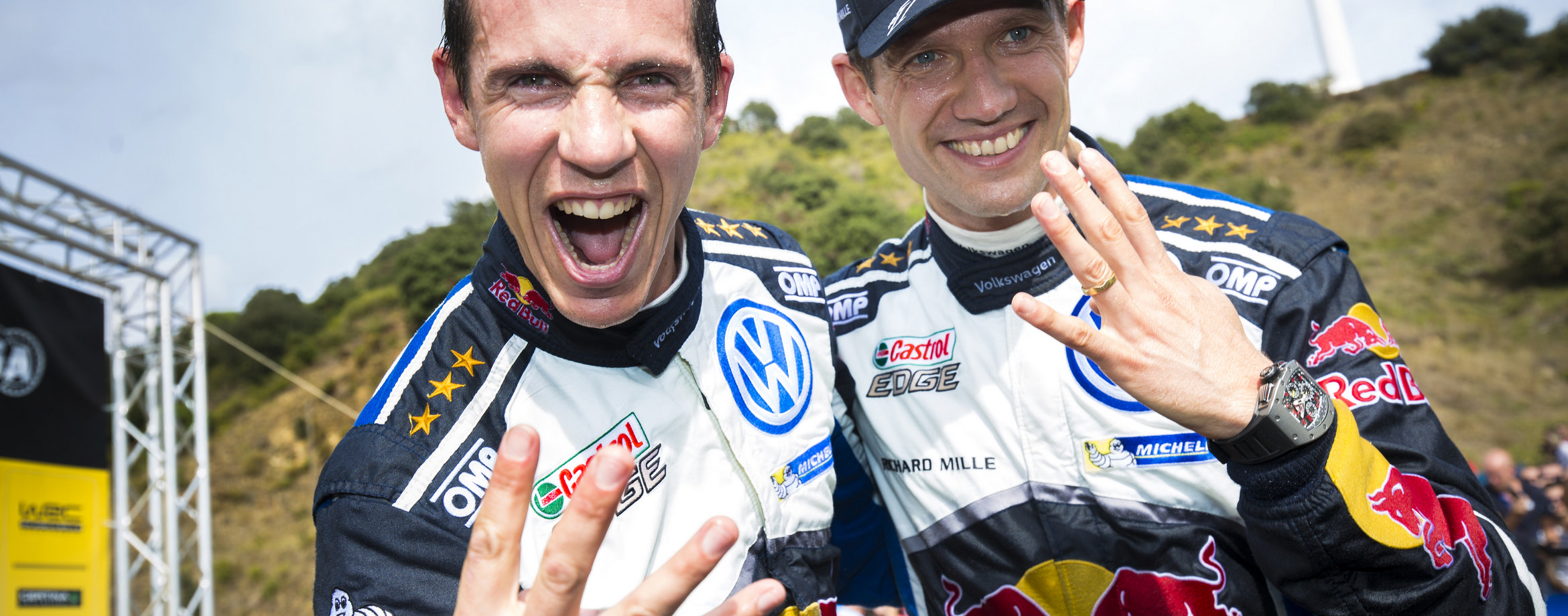 rally drivers celebrate