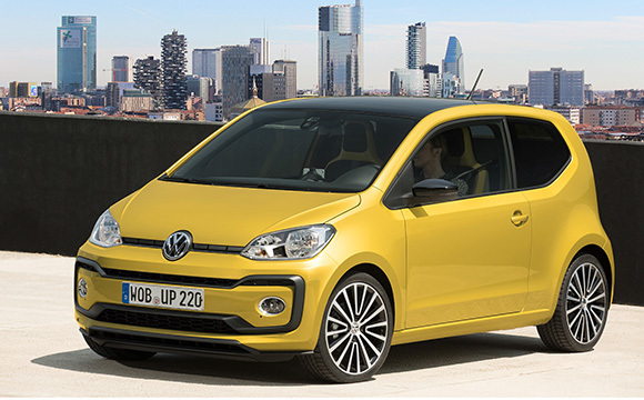 Yellow Volkswagen up! outside