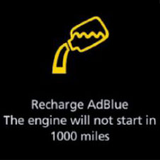 Recharge AdBlue yellow warning light