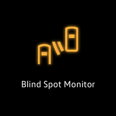 Orange blind spot monitor warning light