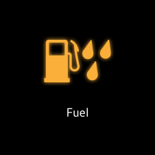 Water in fuel tank orange warning light