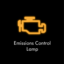 Emissions control lamp warning light