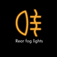 Rear fog lights warning light