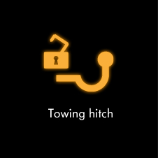 Towing hitch warning light