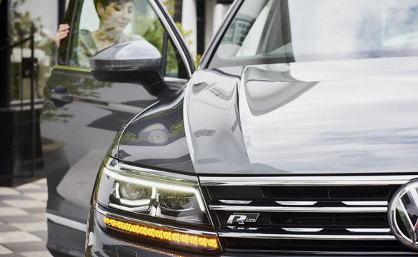 Close up of front grille of Tiguan
