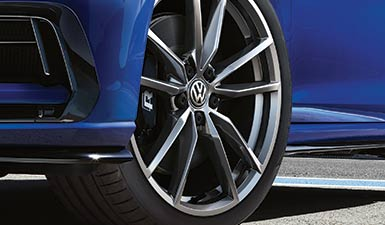 A close up of the tyres on a Volkswagen
