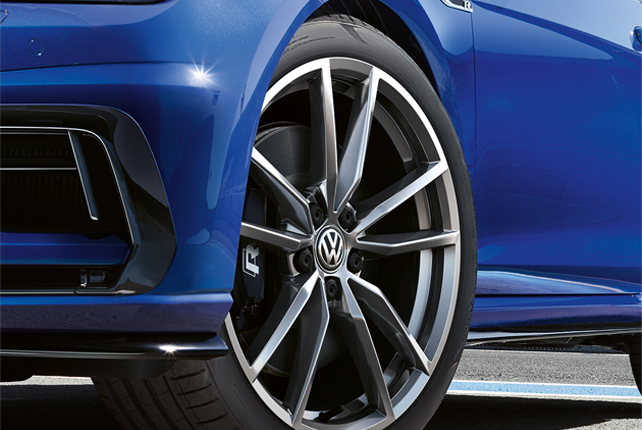 A close up of Volkswagen tyres
