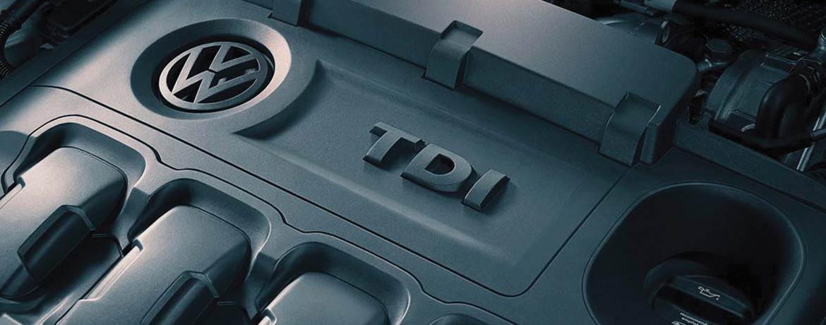 A close up of a diesel TDI engine in a Volkswagen