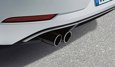 A close up of the exhaust in a Volkswagen