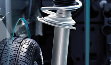A close up of shock absorbers in a Volkswagen