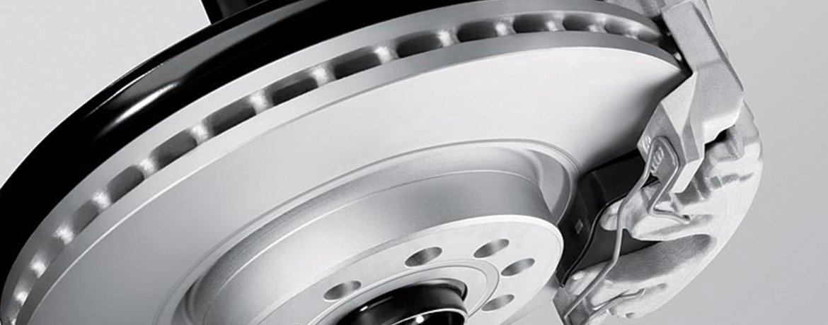 A close up of a brake disc in a Volkswagen