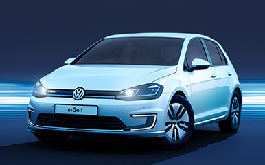 White e-Golf on a blue background