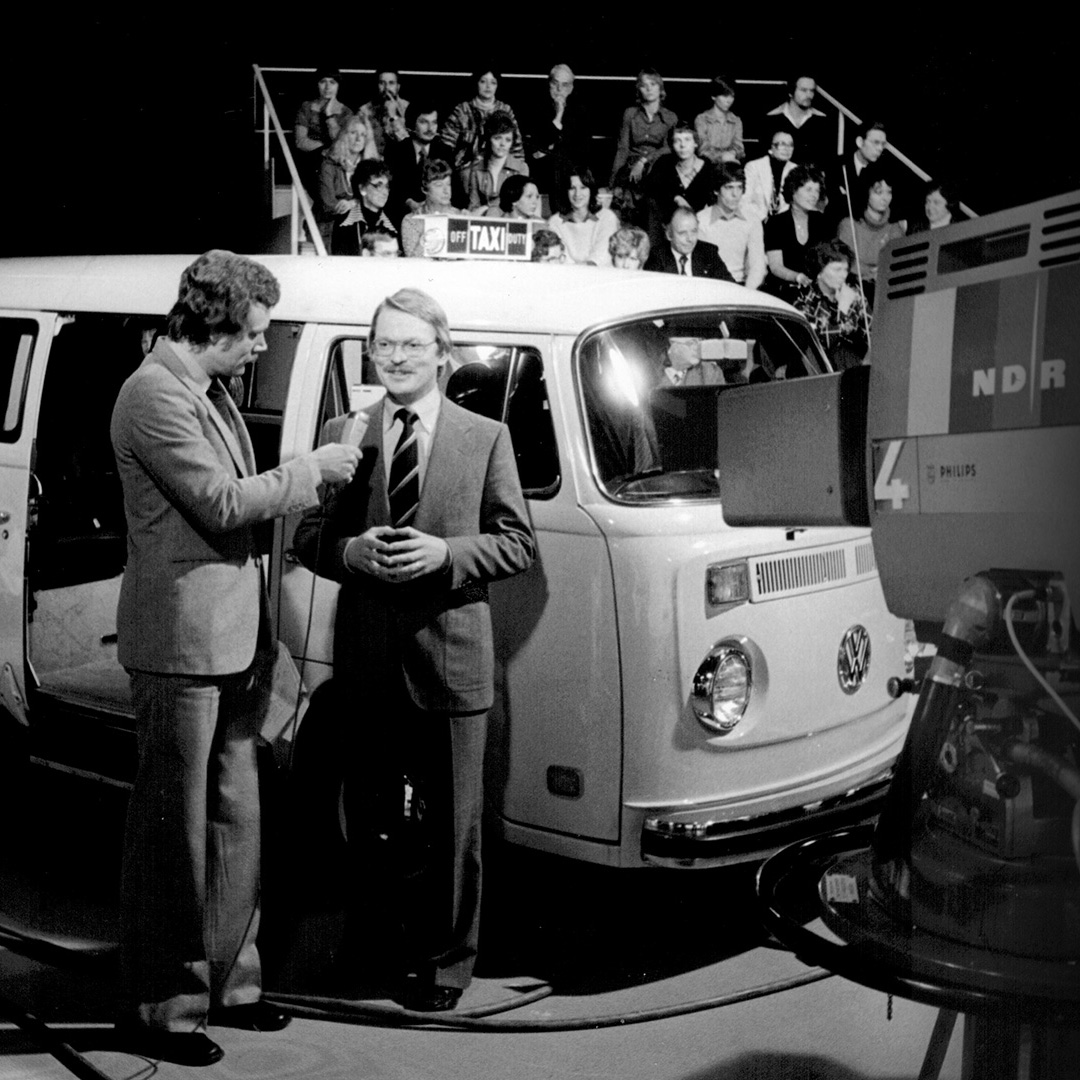 The Volkswagon electric campervan on the set of a TV show